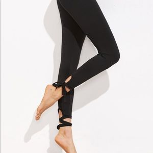 Black Lace Up Leggings